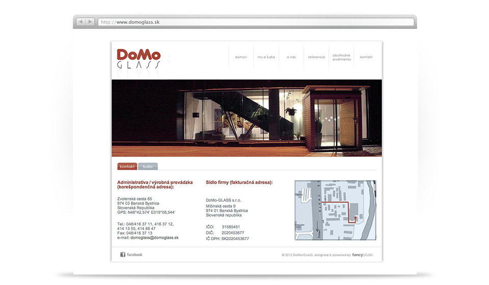 domoglass -  web stránka